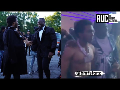 Lil Meech Loses His Shirt 50 Cent Has To Escort Him After Girls Go Wild At BMF Atlanta Premiere