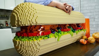 Lego Very Large Sandwich - Lego In Real Life 9 / Stop Motion Cooking & ASMR