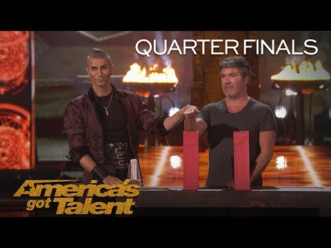 Aaron Crow: Danger Act Plays Terrifying Game Of Chance With Knife - America's Got Talent 2018 (видео)