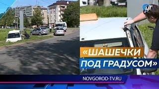 В центре Великого Новгорода такси с пассажиркой и нетрезвым водителем улетело в кювет