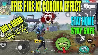 FREE FIRE EFFECTED BY CORONA   DUO AND RANK MATCH CANCEL   FUNNY GAME PLAY   TELUGU GAMING ZONE