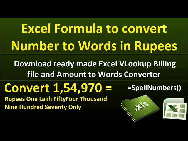 Excel Formula to Convert Numbers to Words in Indian Rupees