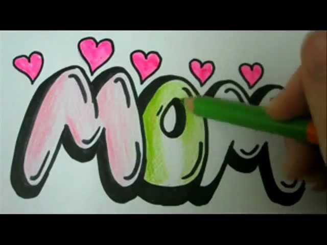 Video Draw Mom How To Draw Mom In Easy Graffiti Bubble Letters