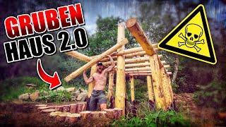GRUBENHAUS 2.0 Bushcraft Shelter #007 - Lagerbau - Outdoor Bushcraft Camp | Fritz Meinecke