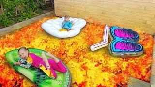 БАССЕЙН это ЛАВА ... POOL IS LAVA / ЛАВА ЧЕЛЛЕНДЖ в БАССЕЙНЕ / Дети играют в бассейне с НАДУВАШКАМИ