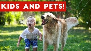 Cute Kids Playing With Funny Animals Compilation 2017