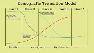 Animation of the demographic transition model and population growth & decline