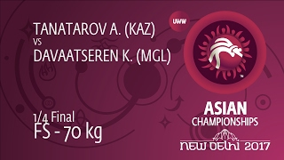 1/4 FS - 70 kg: A. TANATAROV (KAZ) df. K. DAVAATSEREN (MGL) by TF, 12-1
