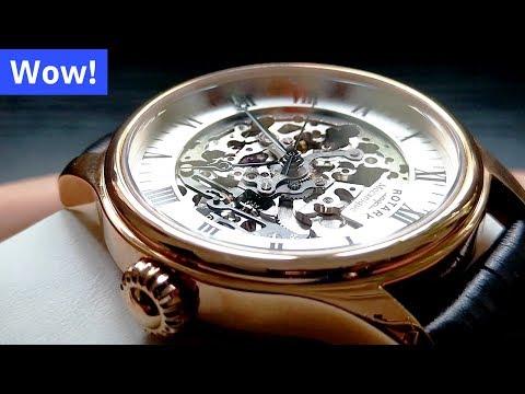 AMAZING Rotary Rose Gold Automatic Skeleton Watch (4K)
