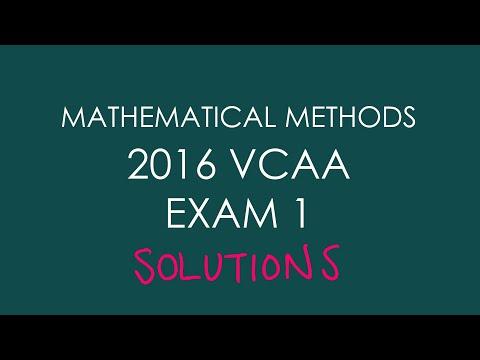 2016 VCAA Mathematical Methods Exam 1 - YouTube