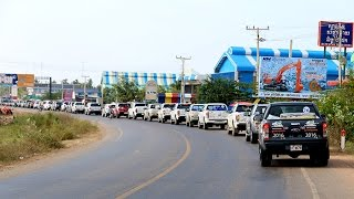 Ford Adventure 80 cars drive on the road accross Cambodia and Thailand