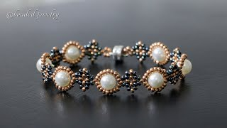 Quick & Easy To Make Beaded Bracelet With Seed Beads And Pearls. Beading Tutorial