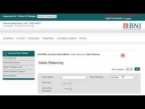 Cara Cek Informasi Saldo Rekening melalui BNI INTERNET BANKING