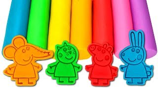 Play Doh Rainbow Colors Fun Molds Learn Colors with Peppa and Friends Modelling Clay for Kids
