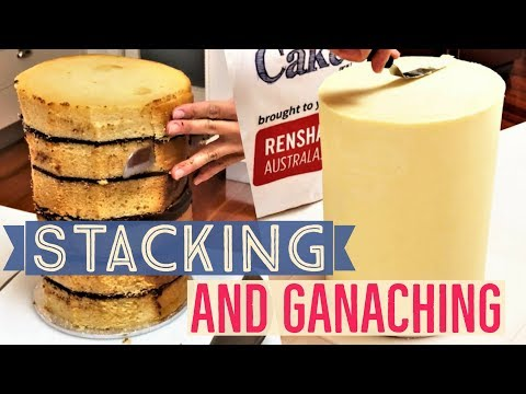 Stacking and Ganaching Double Tall Cake Using Chocolate Ganache and Boards for Smooth Effect