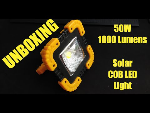Portable Solar COB LED Work light 50W - UNBOXING (by Banggood)