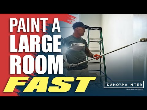 HOW TO PAINT A LARGE ROOM FAST.  DIY Painting a large room in 1 day. Paint a room in 1 hour.