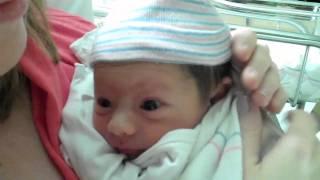 Newborn baby Caroline has the hiccups!