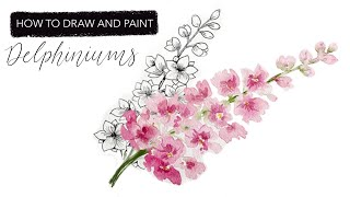 Watercolour Delphinium: How To Draw And Paint JULYS Birth Month Flower