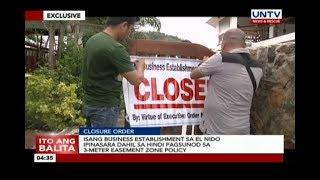 Isang business establishment sa El Nido ipinasara dahil sa 3-meter easement zone policy
