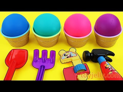 Learn Colors & Numbers Play Doh Ice Cream 4 Cups Kinder Joy Surprise Eggs Baby Toys Fun for Kids