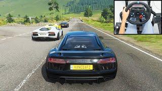 Audi R8 V10 Plus & Lamborghini Aventador - Forza Horizon 4   Logitech g29 gameplay