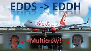 👨✈️✈️👨✈️ VATSIM: Multicrew Flight! | Stuttgart to Hamburg - FULL ATC!! | IFR Flight Example