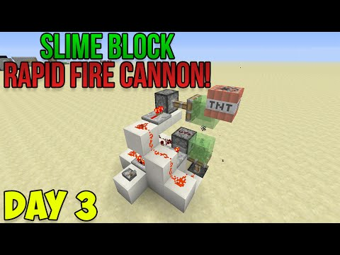 Minecraft: How to Make a Rapid Fire TNT Cannon! | Slime Block Creations - Day 3