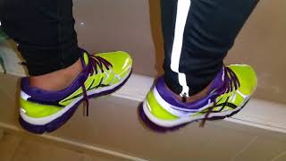 Her after running routine - Asics Gel Kayano 21 - stretching and shower