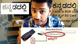 why USB Pendrive and SD Card show less storage space,  kannada video