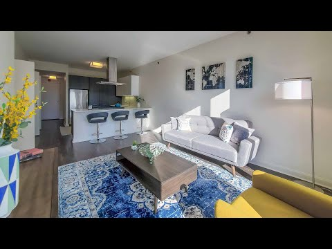 A sunny one-bedroom model #4012 at the Loop's lavish OneEleven tower