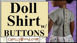Free Doll Clothes Patterns: Shirt For 14 Inch Dolls Like Wellie Wishers And H4H Girls