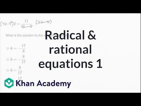 Radical and rational equations — Basic example (video