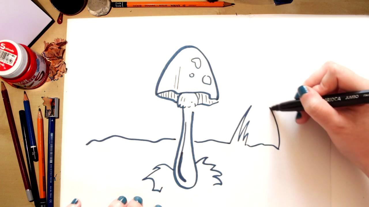 Como desenhar um Cogumelo - desenhos para crianças