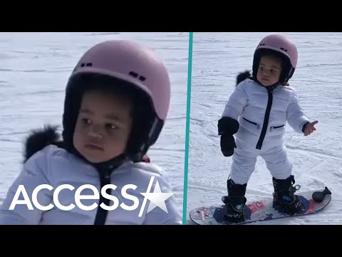 Kylie Jenner Shows Off Daughter Stormi's Adorable Snowboarding Skills