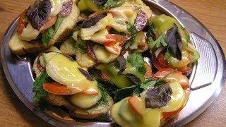 Смотреть онлайн Рецепт бутербродов на фуршет с домашним майонезом