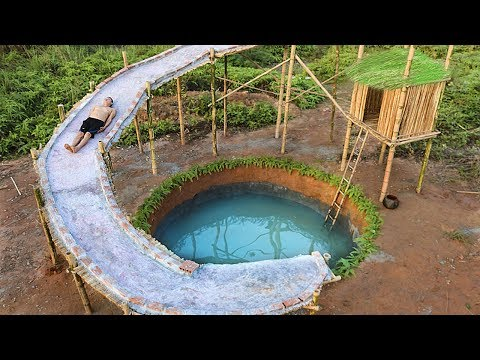 Dig To Build Most Water Slide House Around Swimming Pool Underground (видео)