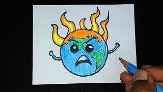 Global Warming Drawing | Save Earth Drawing | Save Environment Drawing