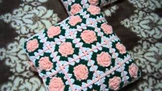 Вязаные чехлы на подушки.  Crochet Pillow Covers. עבודת יד
