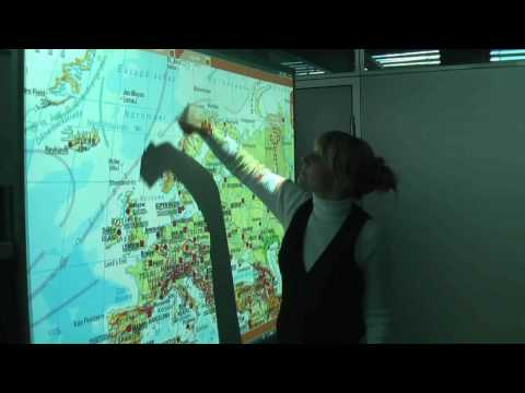 Interactive wall map for whiteboards