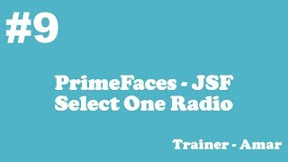PrimeFaces - JSF Tutorial || Select One Radio in PrimeFaces using Netbeans IDE || Part-9