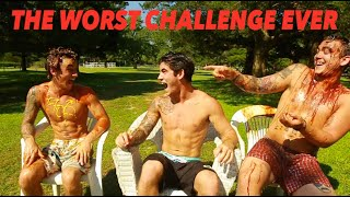 THE WORST CHALLENGE EVER ! (MESSY SAUCE SHOWERS)