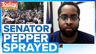 Senator pepper sprayed in New York while trying to keep the peace | Today Show Australia