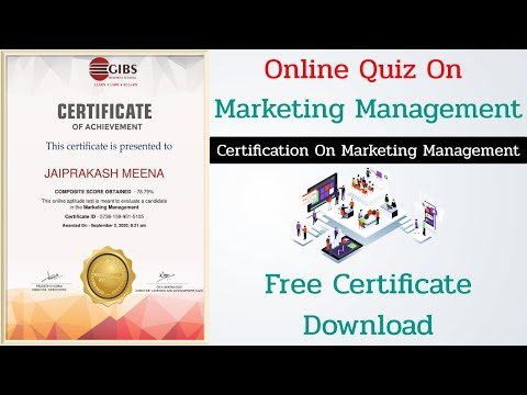 Marketing Management Free Certification Course || Free Quiz ...