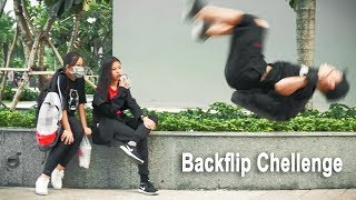 PICK-UP BACKPACK BY BACKFLIP | How People Reaction When You Look Like A Master | Nhặt Balo Rồi Lộn