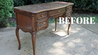 BEFORE And AFTER French Provincial Vanity Makeover! - Thrift Diving
