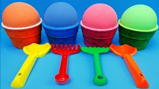 4 Color Kinetic Sand in Ice Cream Cups  Surprise Toys Kinder Surprise Eggs Pokemons Shop