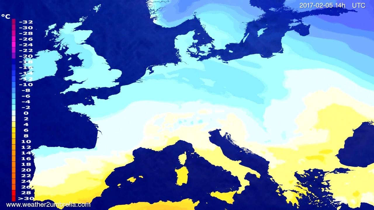 Temperature forecast Europe 2017-02-01
