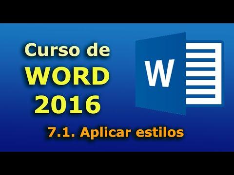 Curso de Word 2016. 7.1. Aplicar estilos