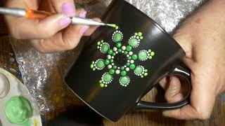 How to paint dot mandalas with Kristin Uhrig #42- Coffee mug